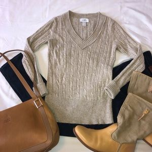 Ann Taylor Loft Wool Blend V Neck Cable Sweater S